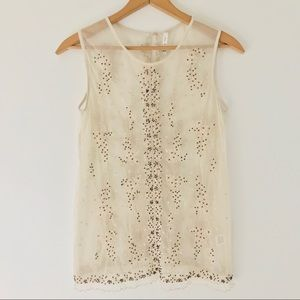 Willow and Clay   Sheer Sleeveless Beaded Top